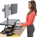 "VersaDesk Power Pro - 36"" Electric Height Adjustable Standing Desk Riser. Power Sit to Stand Desktop Converter with Keyboard Tray. Black."